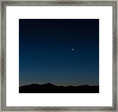 Two Planets And A Moon Framed Print