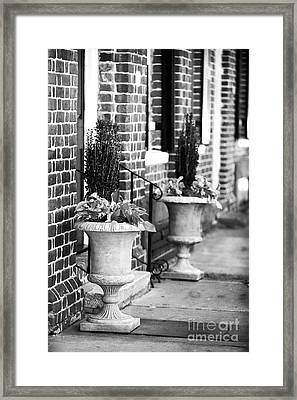 Two Planters By The Door Framed Print by John Rizzuto
