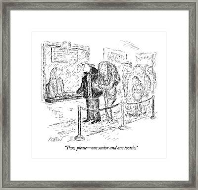 Two, Please - One Senior And One Tootsie Framed Print by Edward Koren