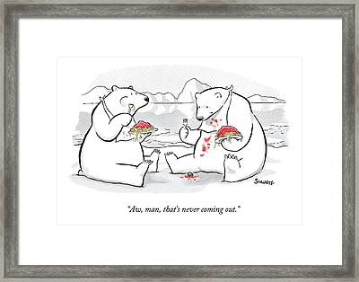 Two Polar Bears Eat Spaghetti And Meatballs.  One Framed Print by Benjamin Schwartz