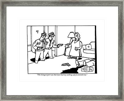 Two Police Officers Are Taking The Testimony Framed Print