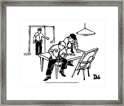 Two Policemen Interrogate A Painting Framed Print