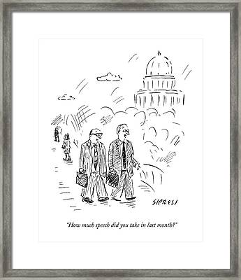 Two Politicians Speak To Each Other. The Capitol Framed Print