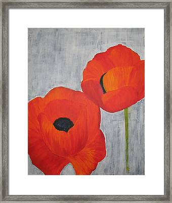 Two Poppies And Old Denim Framed Print by Stephanie Grant