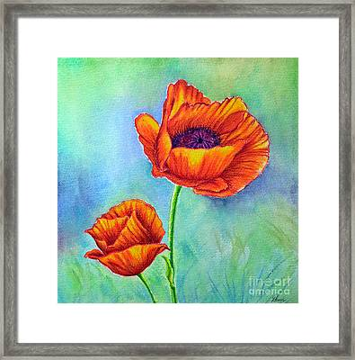 Two Poppies Framed Print by Dion Dior
