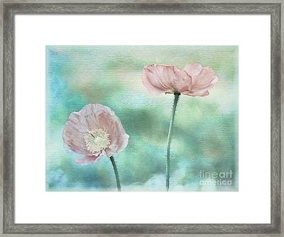 Two Poppies Textured Photograph Framed Print by Clare VanderVeen