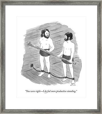Two Prisoners On A Slave Ship Stand And Hold An Framed Print