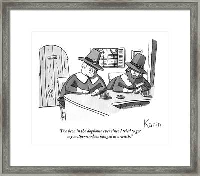 Two Puritan Men Sit At A Bar Together Framed Print by Zachary Kanin