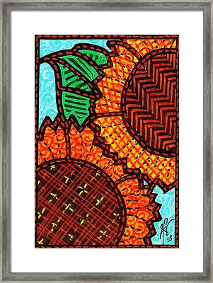 Two Quilted Sunflowers Framed Print by Jim Harris