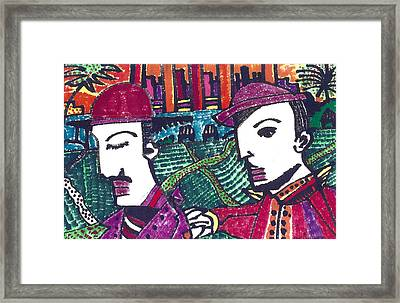 Two Rabbis In Miami Framed Print by Don Koester