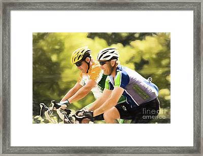 Two Racing Cyclists Framed Print by Jan Tyler