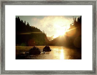 Two Rafts On A River Silhouetted Framed Print