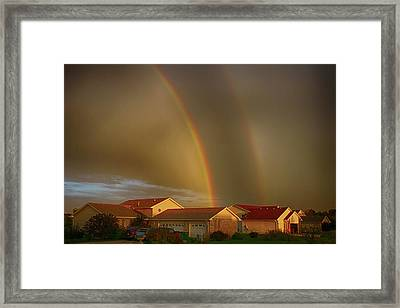 Two Rainbows Plus Two Pots Of Gold Framed Print