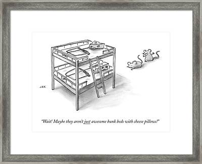 Two Rats Approach An Obvious Rat Trap On A Bunk Framed Print