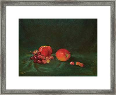Two Red Apples And Grapes Framed Print