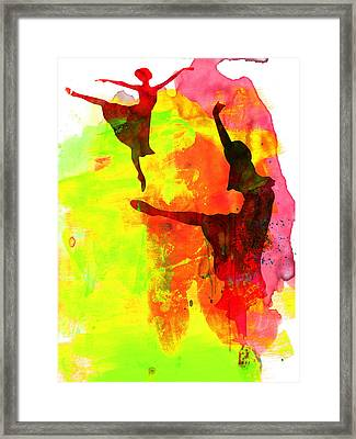 Two Red Ballerinas Watercolor  Framed Print by Naxart Studio