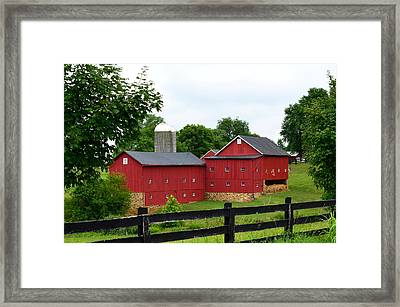 Framed Print featuring the photograph Two Red Barns by Cathy Shiflett