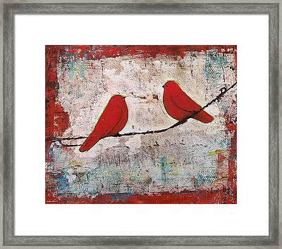 Two Red Birds On A Wire Framed Print