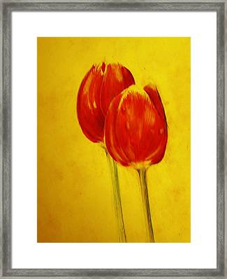 Two Red Tulips Framed Print by Jean Cormier