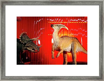Two Robotic Dinosaurs Framed Print by Peter Menzel, Dinamation/science Photo Library