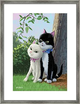 Two Romantic Cats In Love Framed Print by Martin Davey