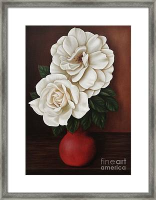 Two Roses Framed Print by Paula Ludovino