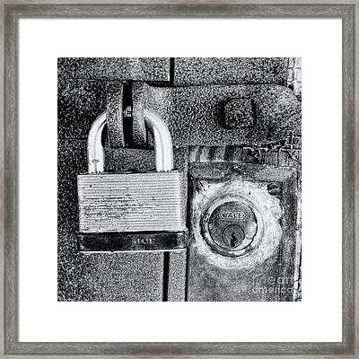 Two Rusty Old Locks - Bw Framed Print