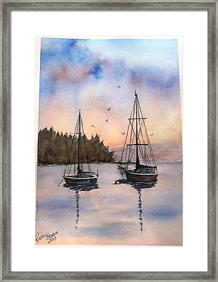 Framed Print featuring the painting Two Sail Boats At Anchor Sold by Richard Benson