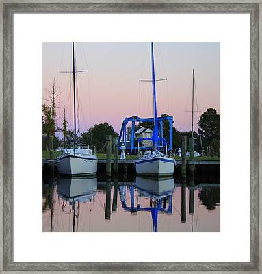 Two Sailboats At Dock Framed Print by Carolyn Ricks