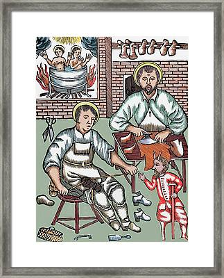 Two Saints Make Shoes Being Tempted Framed Print by Prisma Archivo