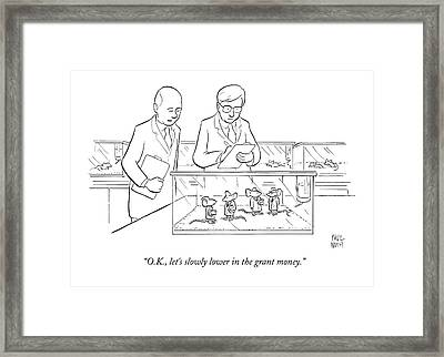 Two Scientists In Lab Coats Observe A Group Framed Print by Paul Noth