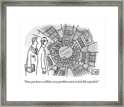 Two Scientists Look At A Complicated-looking Framed Print