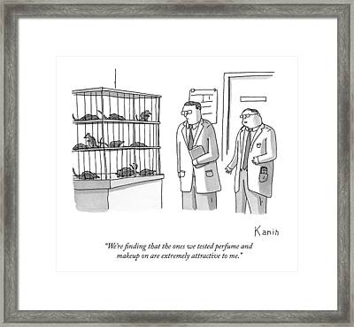 Two Scientists Look At Rats In A Lab Cages Framed Print