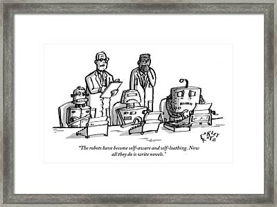 Two Scientists Stand Over Three Robots Who Framed Print