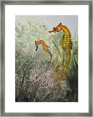Two Sea Horses Framed Print by Nancy Gorr