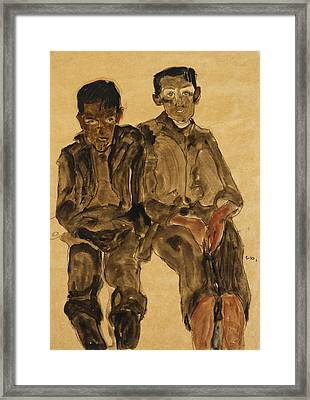 Two Seated Boys Framed Print