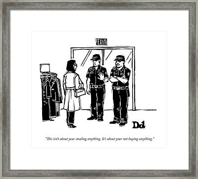 Two Security Guards Stop A Woman From Leaving Framed Print by Drew Dernavich