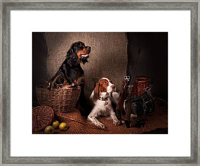 Two Setters... Framed Print by Tanya Kozlovsky