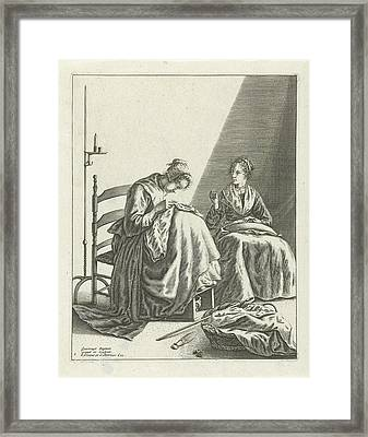 Two Sewing Women, Geertruydt Roghman, Johannes Covens Framed Print by Geertruydt Roghman And Johannes Covens And Cornelis Mortier