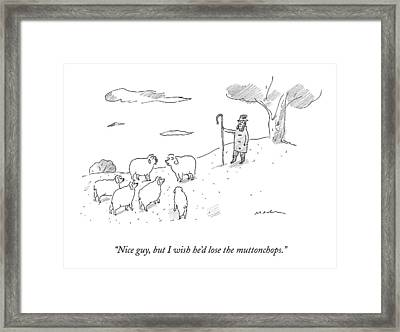 Two Sheep Talk About Their Shephard Framed Print by Michael Maslin