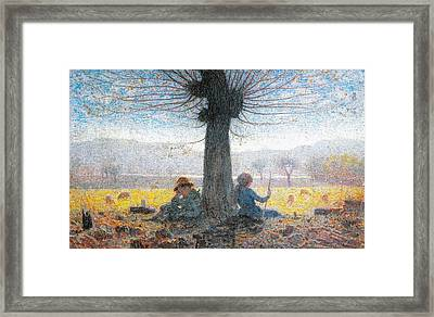 Two Shepherds On The Fields Of Mongini Framed Print by Giuseppe Pelizza da Volpedo