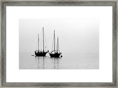 Two Ships In The Fog Framed Print by AJ  Schibig