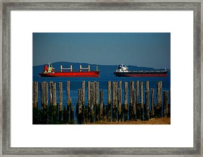 Two Ships Passing In The Framed Print by Mamie Gunning