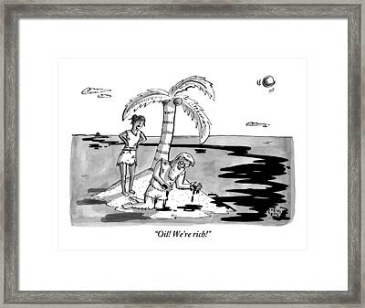 Two Shipwrecked Men Are On An Island With A Big Framed Print