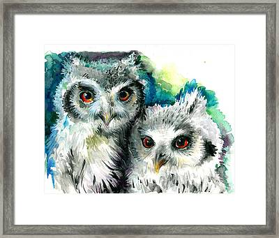 Two Sisters - Polar Owl Offsprings Framed Print