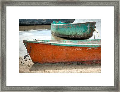 Two Small Boats At Barra De Potosi. Framed Print