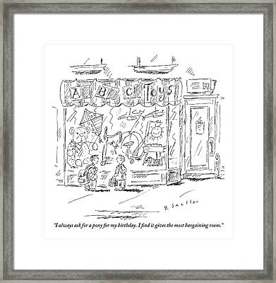 Two Small Boys Stand In Front Of A Toy Store Framed Print by Barbara Smaller