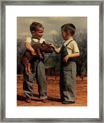 Two Small Boys With Piglet Framed Print
