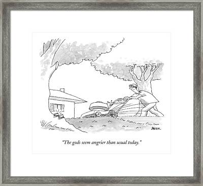 Two Small Bugs Are Talking About A Lawn Mower Framed Print