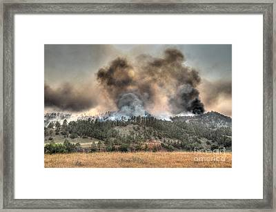 Two Smoke Columns White Draw Fire Framed Print